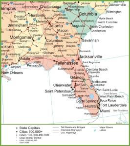 Alabama Political  Map   Political Map of Alabama With Georgia & Florida Large Printable