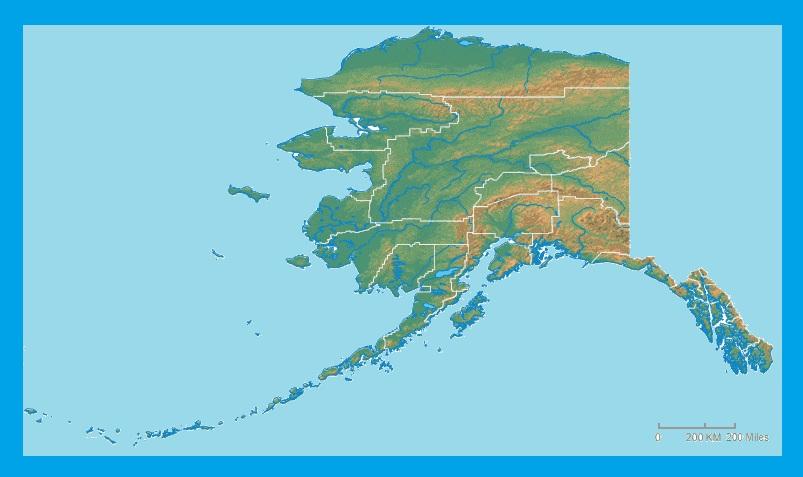 Alaska Physical Map  | Large Printable and Standard Map