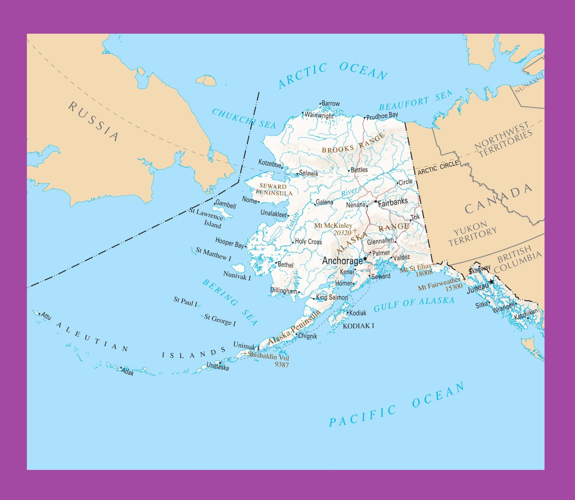 Alaska Political Map | Large Printable and Standard Map