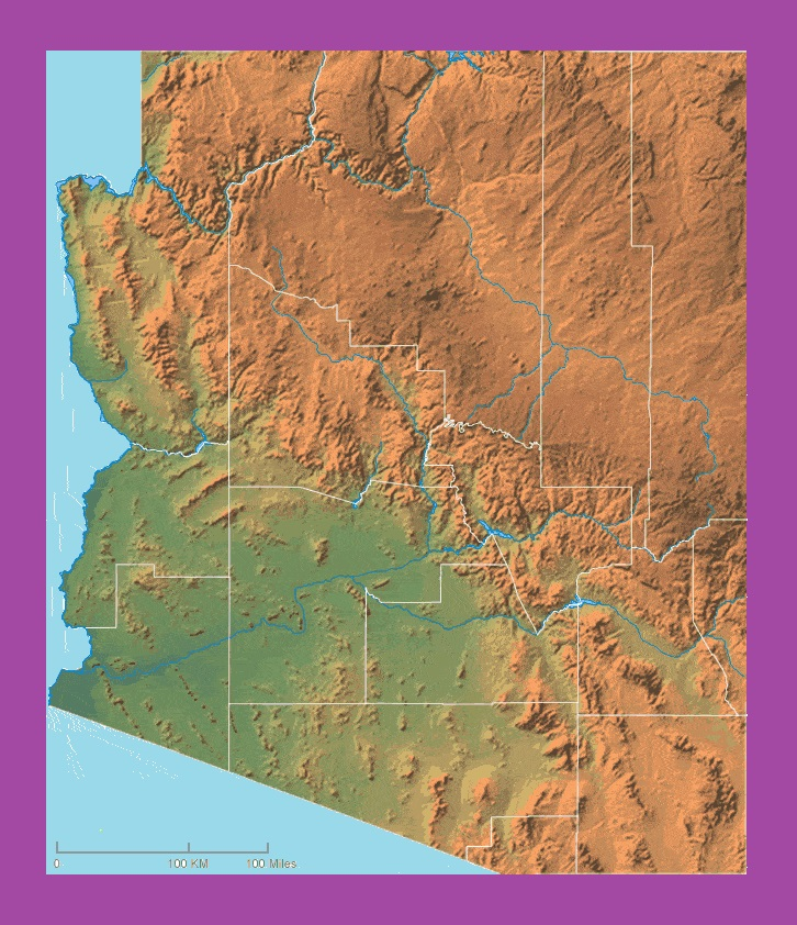 Arizona Physical Map | Large Printable and Standard Map-2
