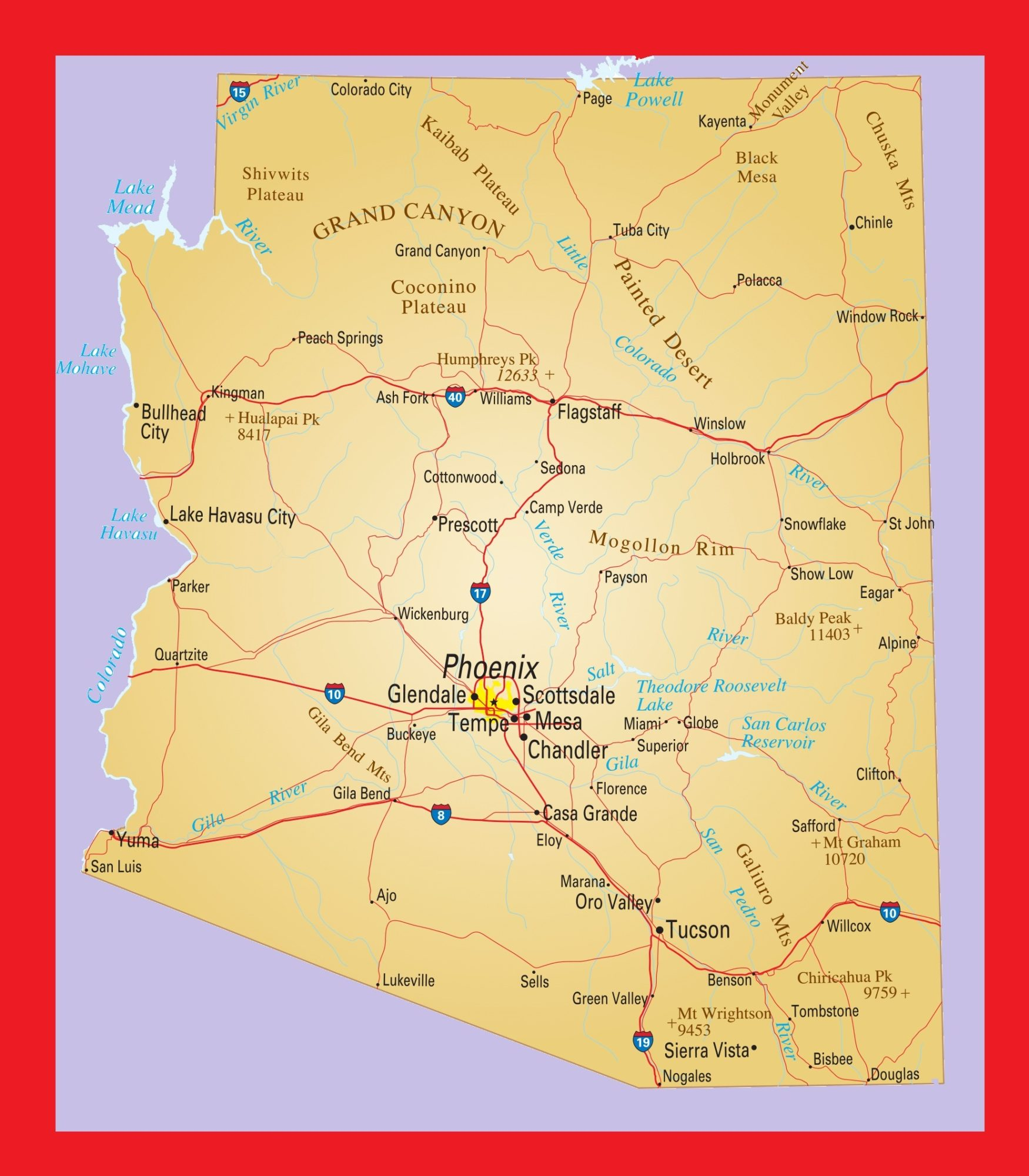 Arizona Political Map | Large Printable and Standard Map 3