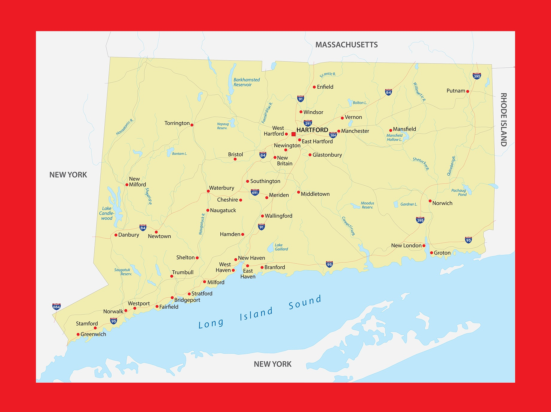 Connecticut Physical Map   Large Printable and Standard Map