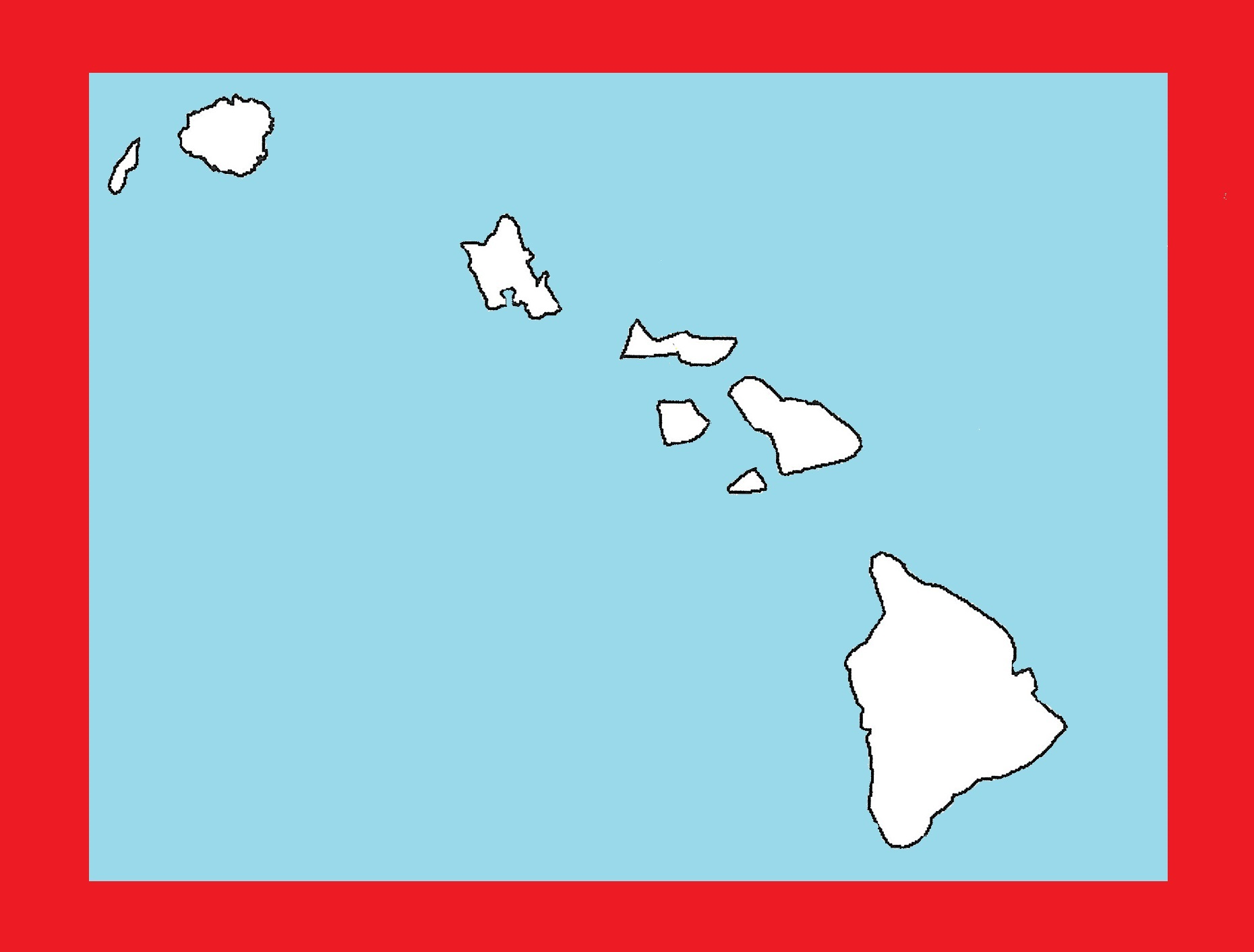 Hawaii Blank Outline Map | Large Printable and Standard Map 17