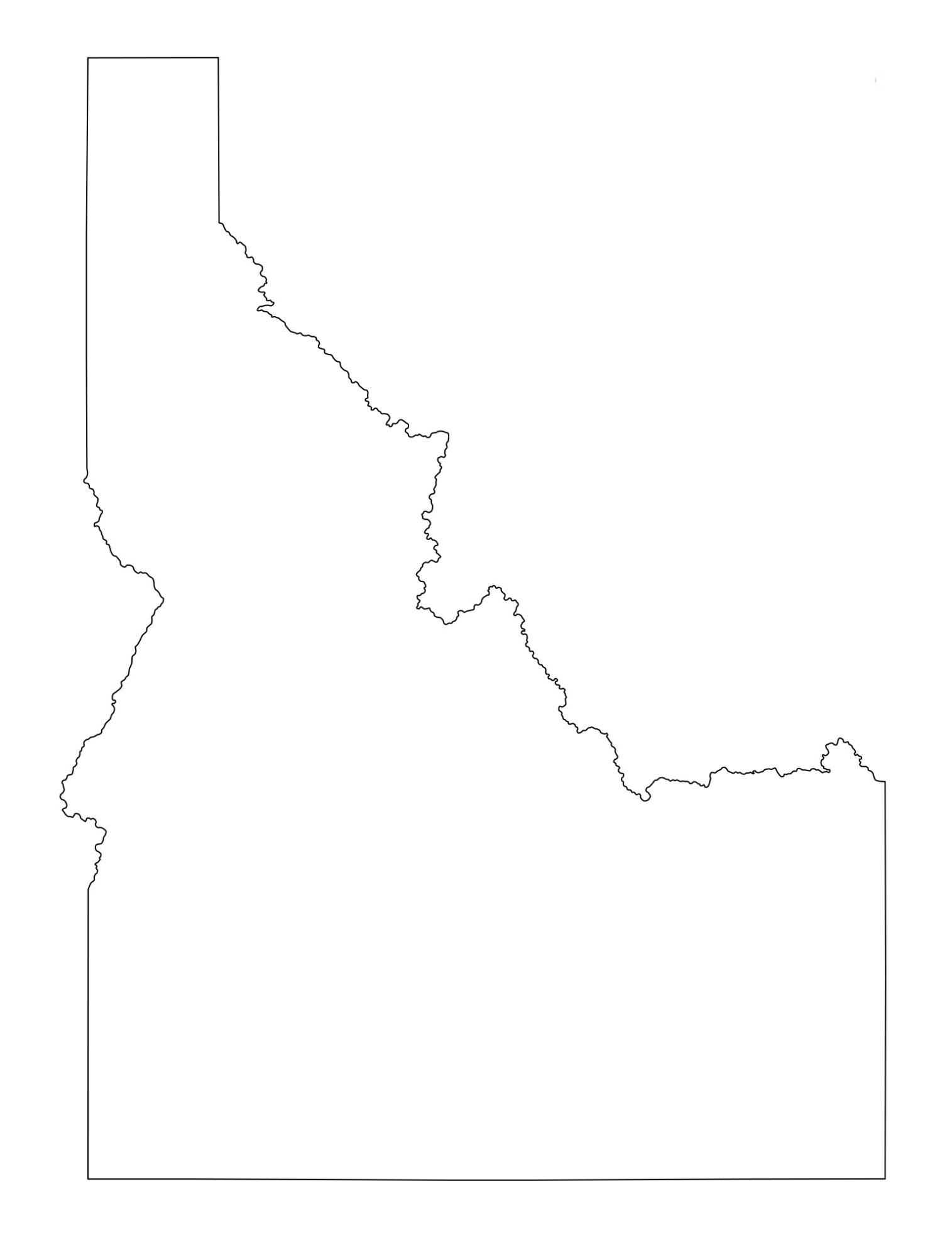 Idaho Blank Outline Map   Large Printable and Standard Map 12