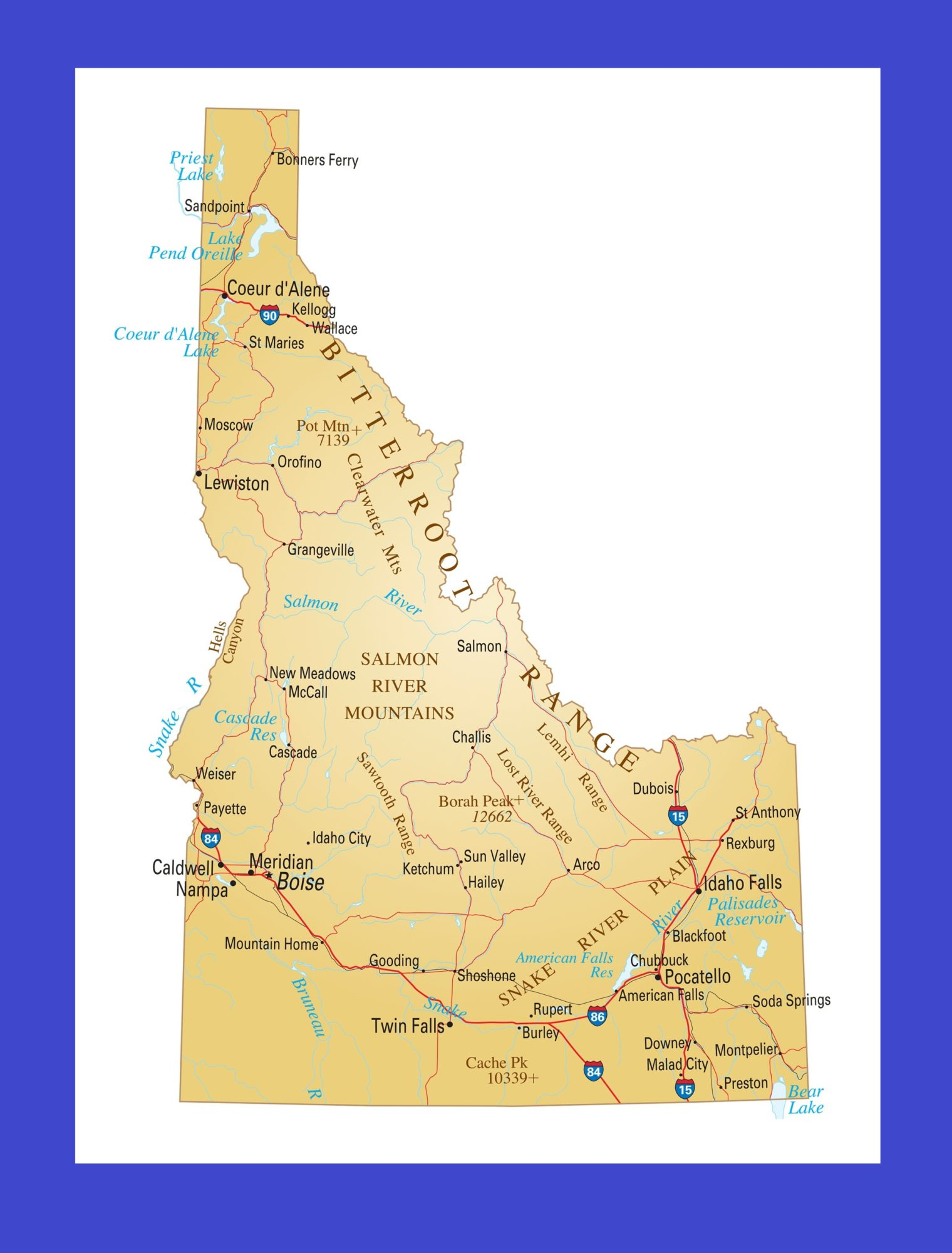 Idaho Details Map   Large Printable and Standard Map