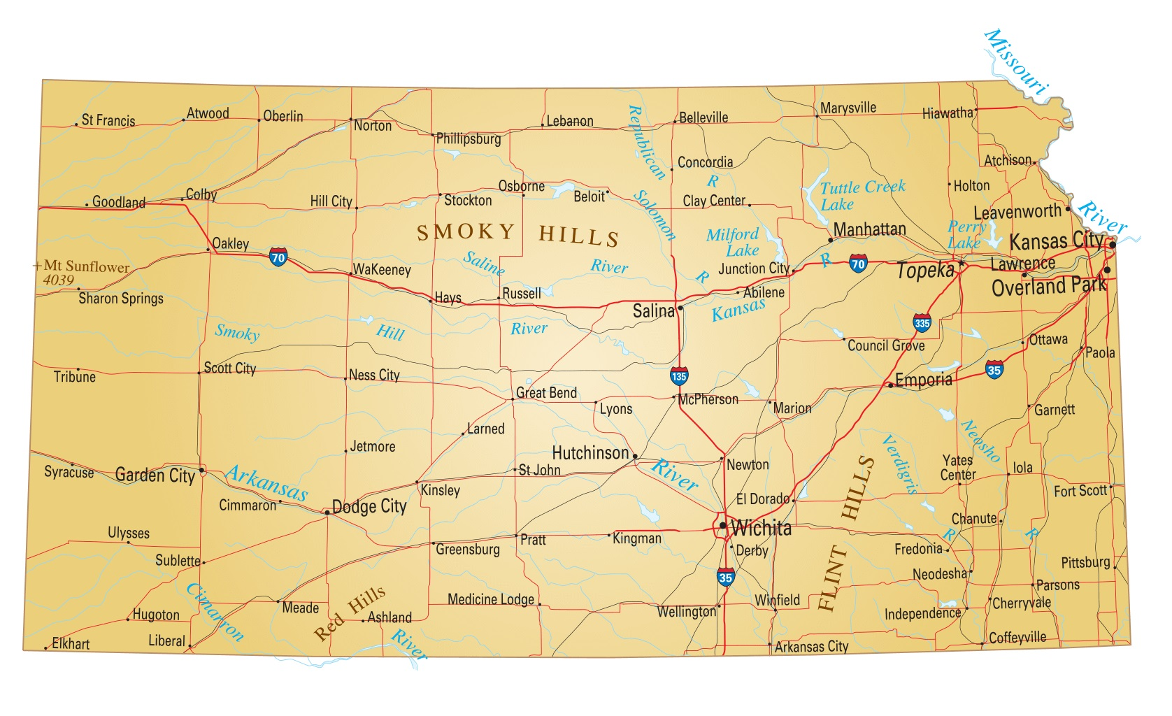 Kansas Details Map | Large Printable High Resolution and Standard Map