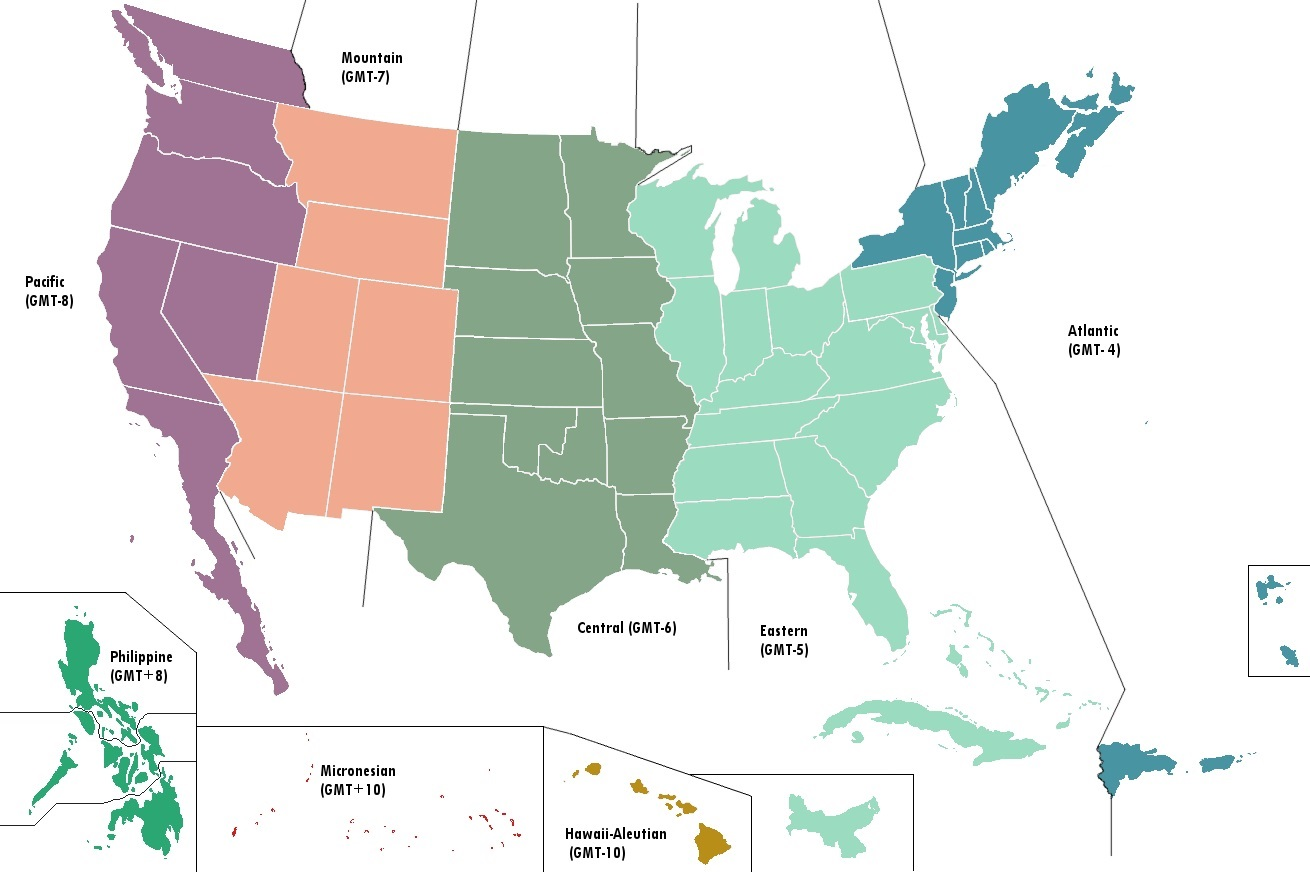 The United States Time Zone Map | Large Printable Colorful ...