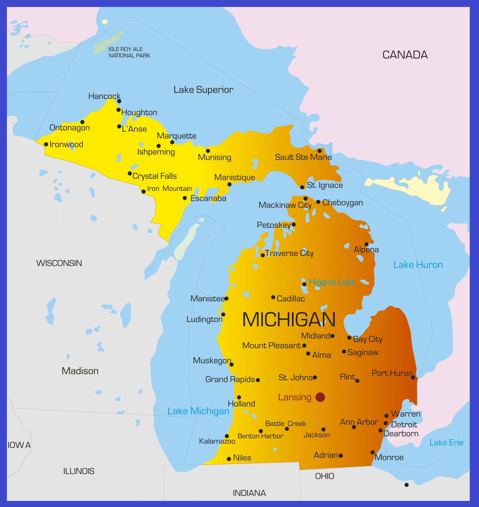 Michigan Details Map | Large Printable High Resolution and Standard Map