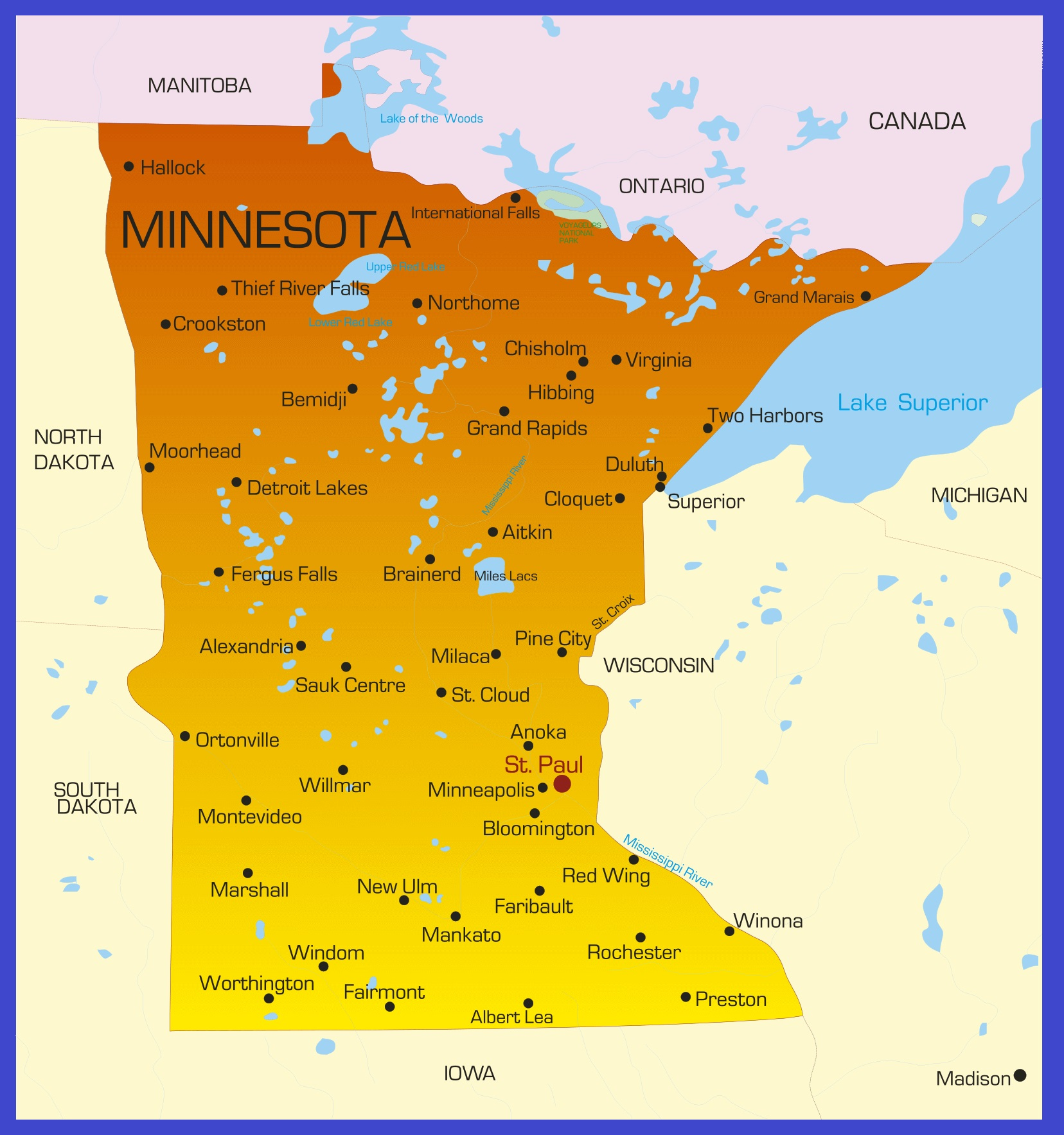 Minnesota Details Map | Large Printable High Resolution and Standard Map