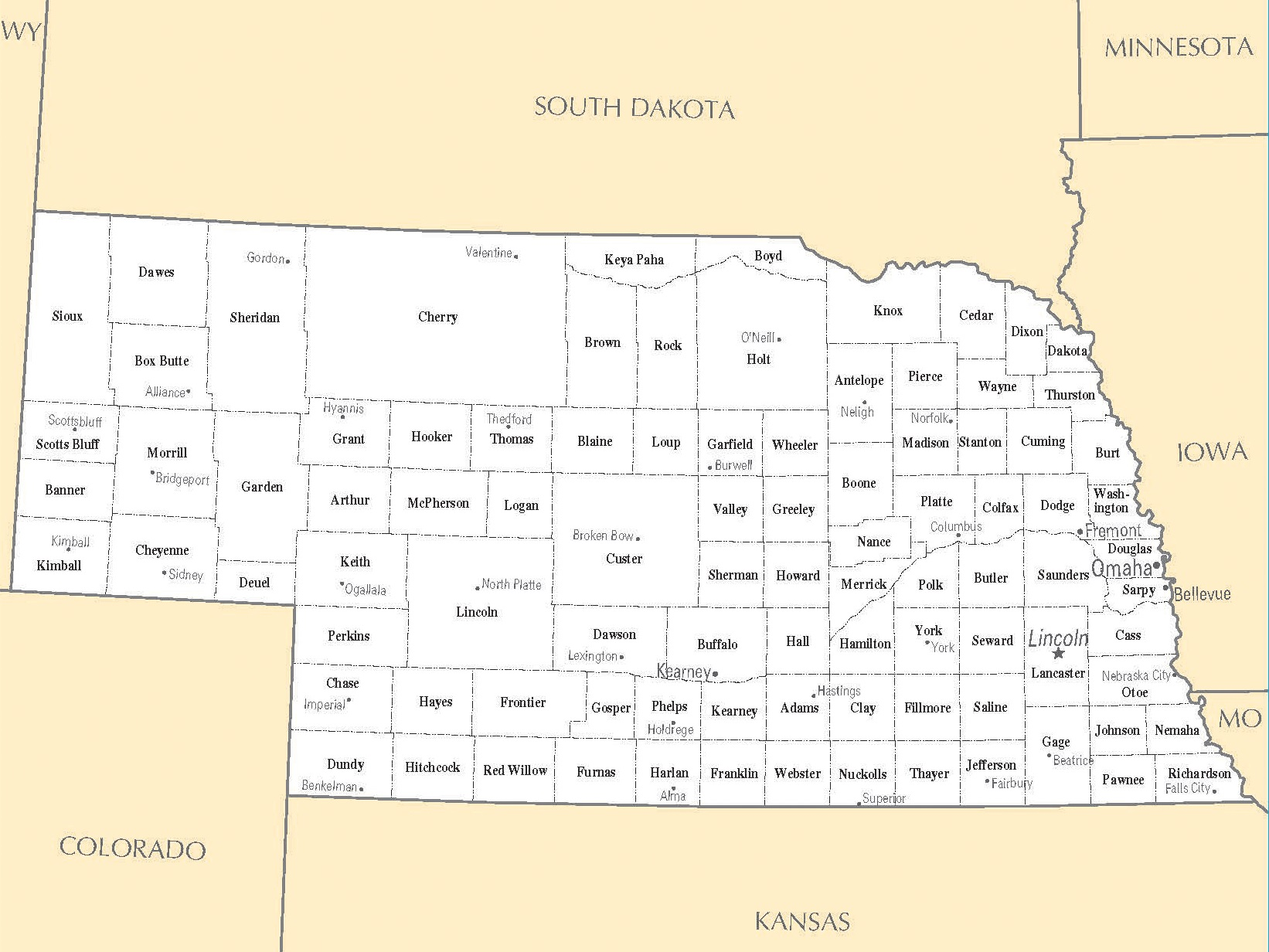 City Map of Nebraska   Large Printable High Resolution Nebraska City Map