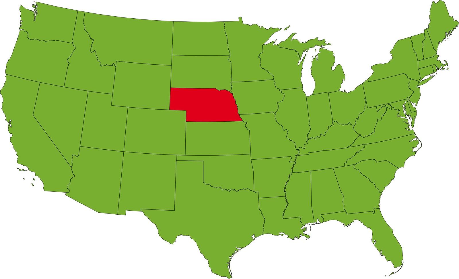 Nebraska Location Map | Large Printable High Resolution and Standard Map