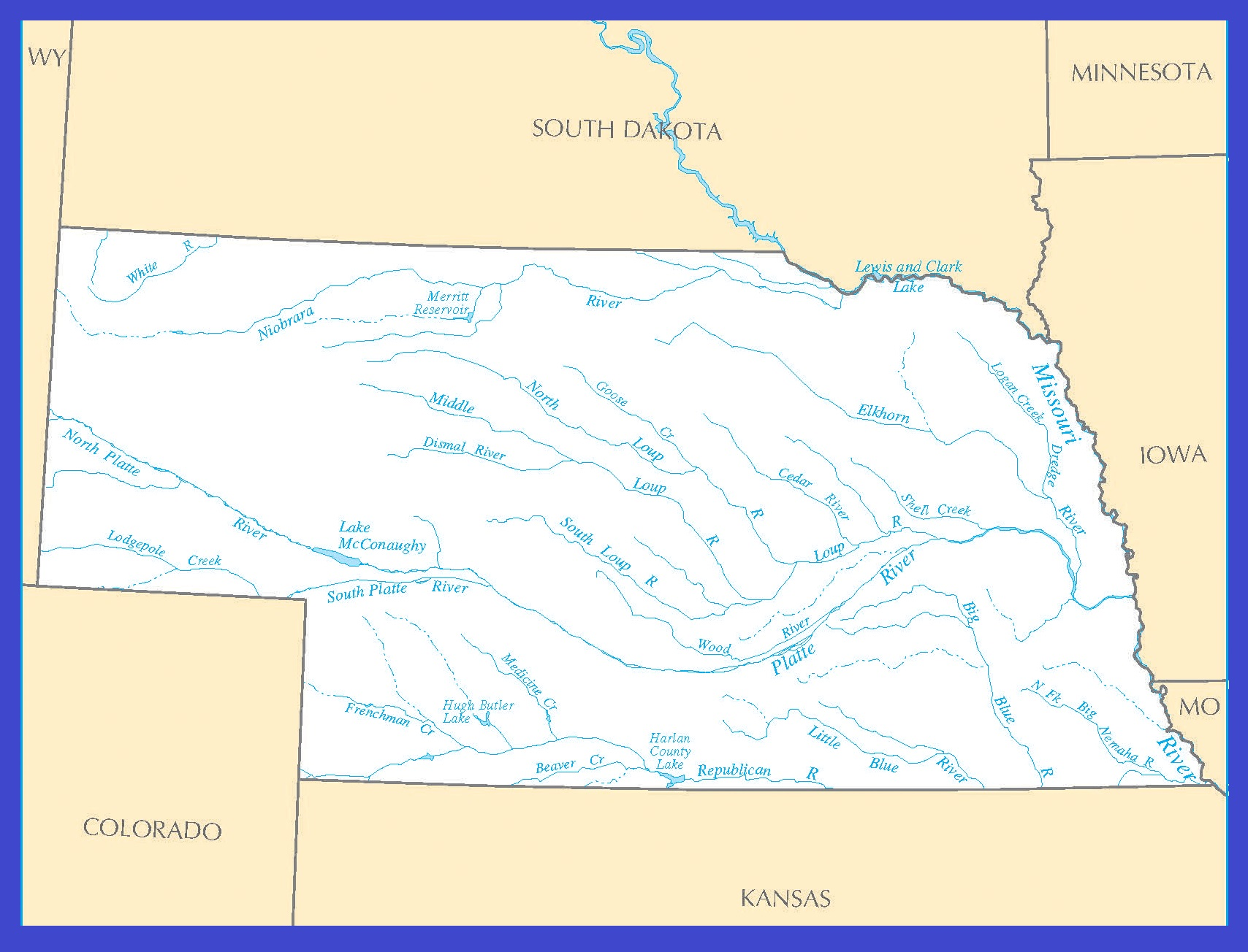 Nebraska Rivers Map | Large Printable High Resolution and Standard Map
