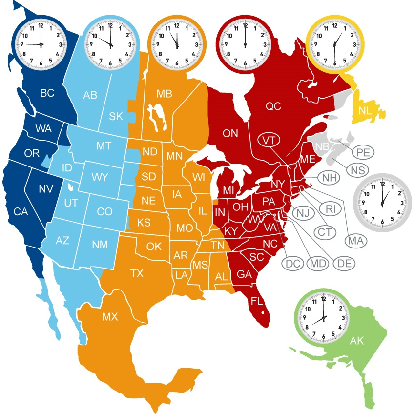 The North America Time Zone Map   Large Printable Colorful ...