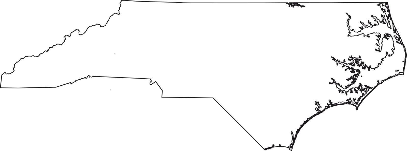 North Carolina Blank Outline Map | Large Printable Standard Map