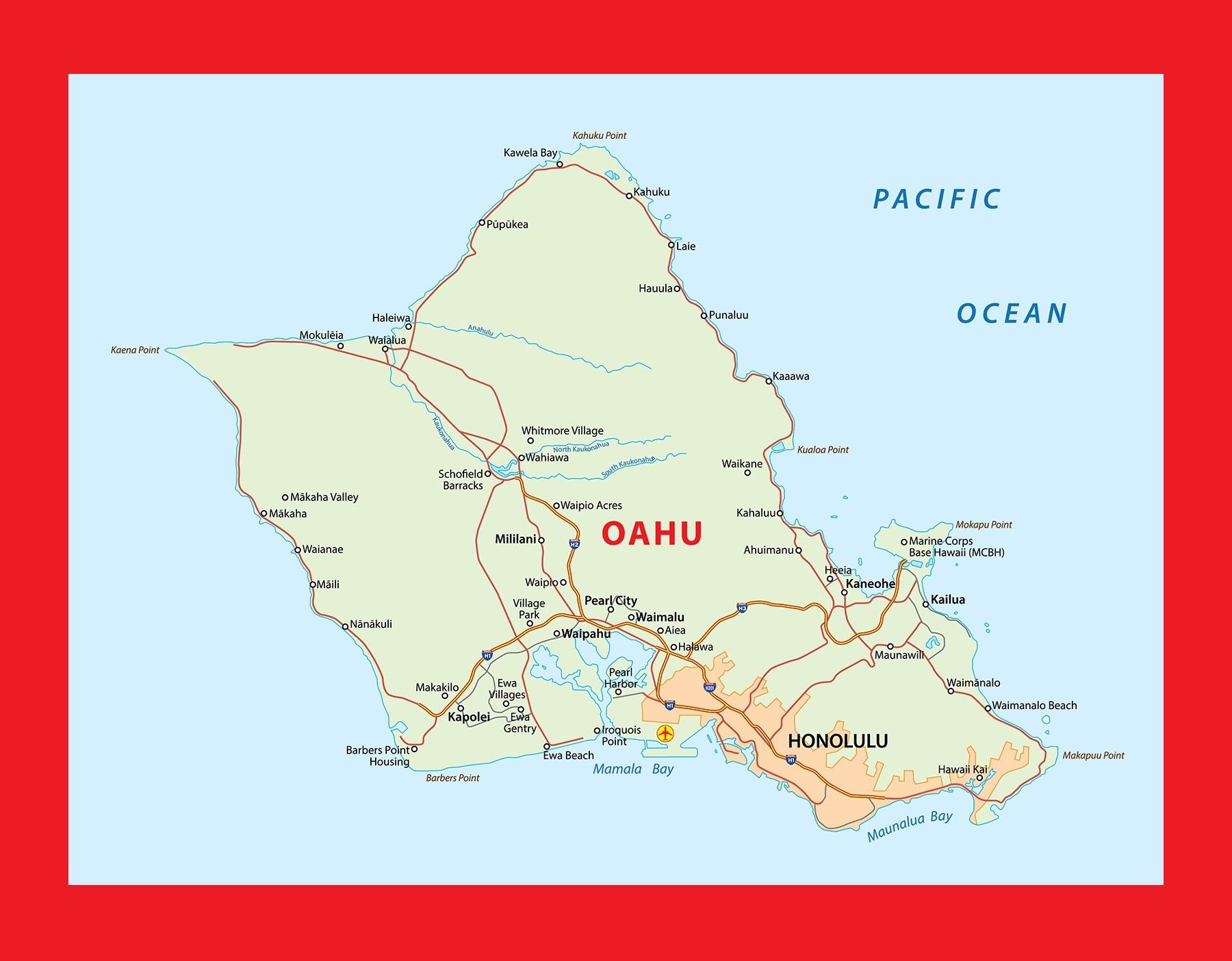 Hawaii Oahu Island Map | Large Printable and Standard Map