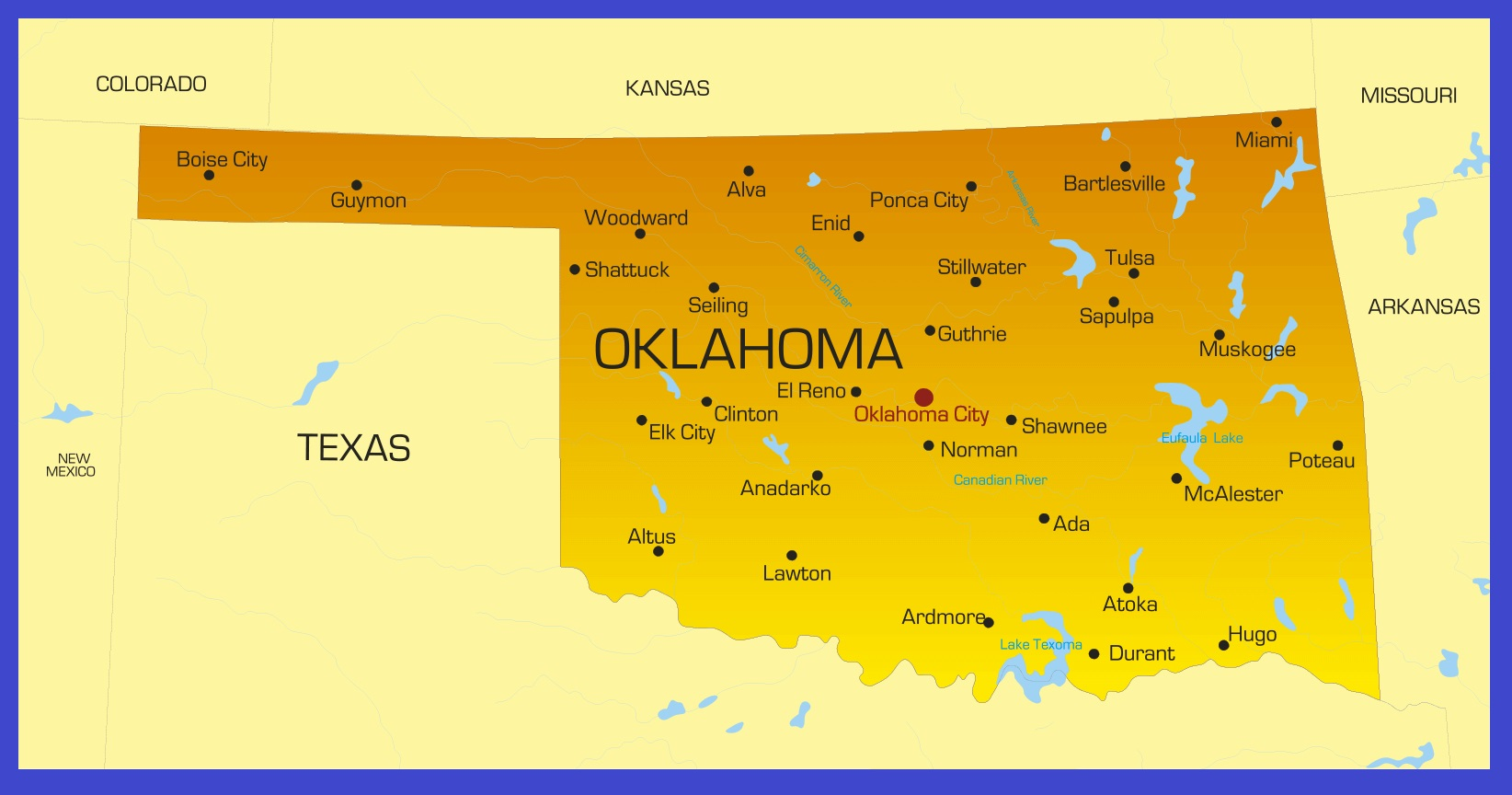 Oklahoma Details Map | Large Printable High Resolution and Standard Map