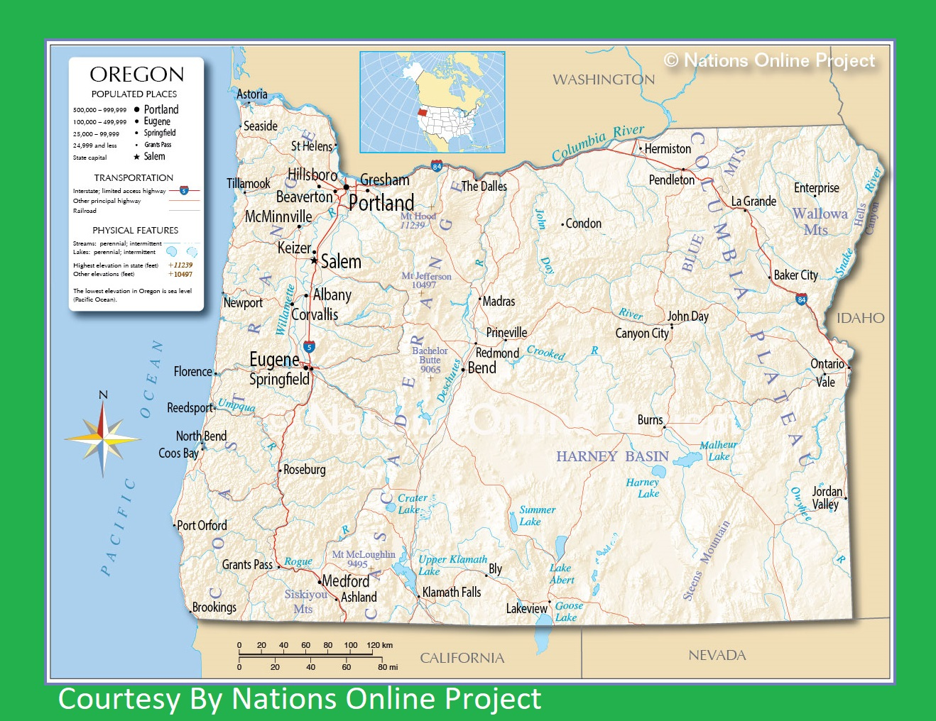 Oregon Transportation and physical map large printable