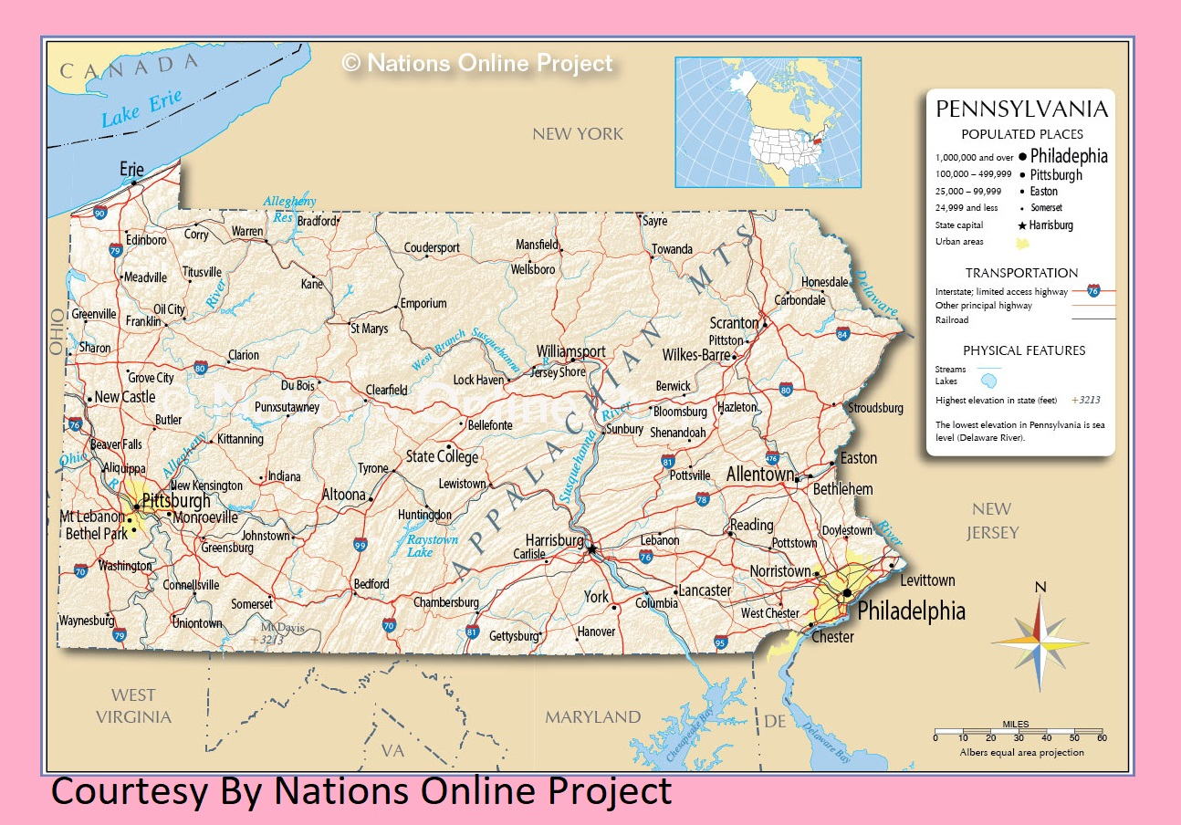 Pennsylvania Transportation and physical map large printable