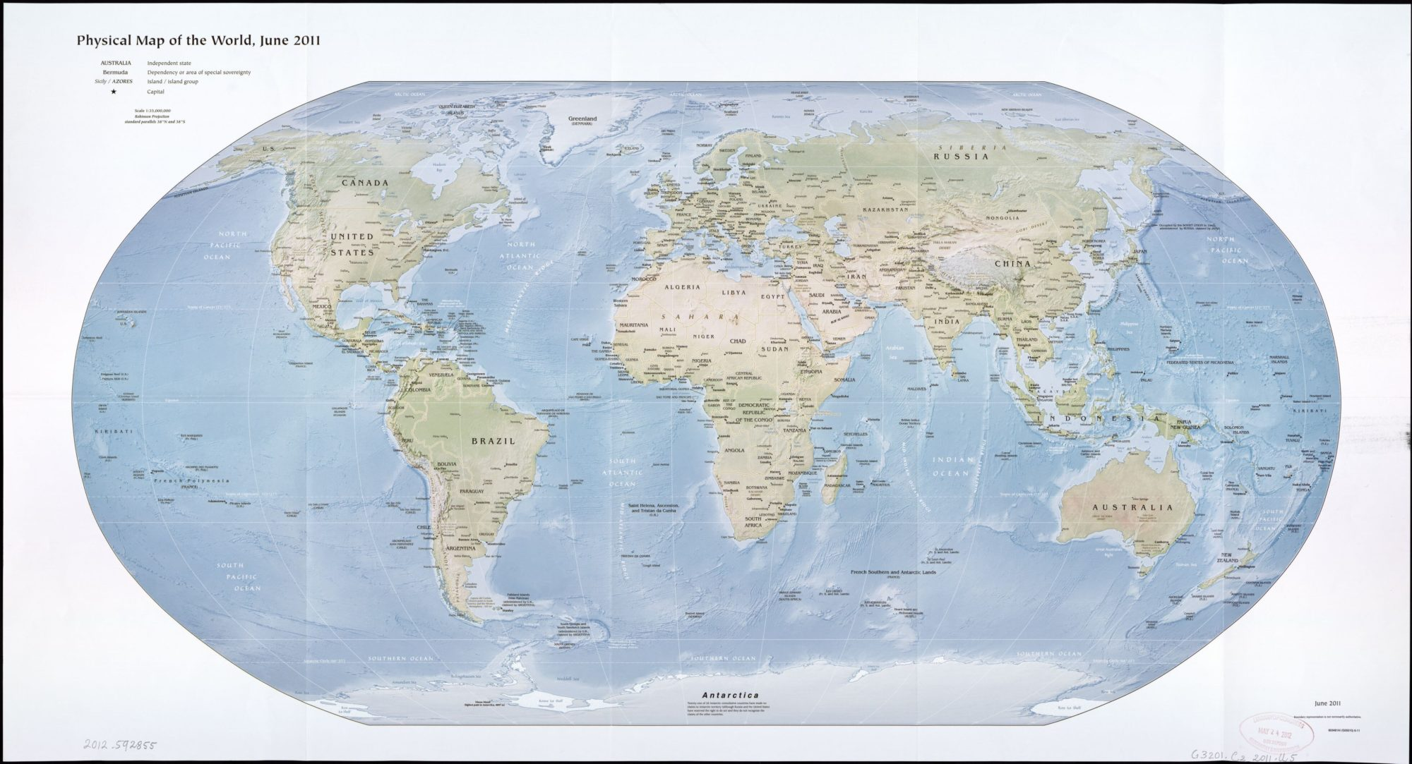 The World Physical Map  | June 2011 | Large, Printable Downloadable Map