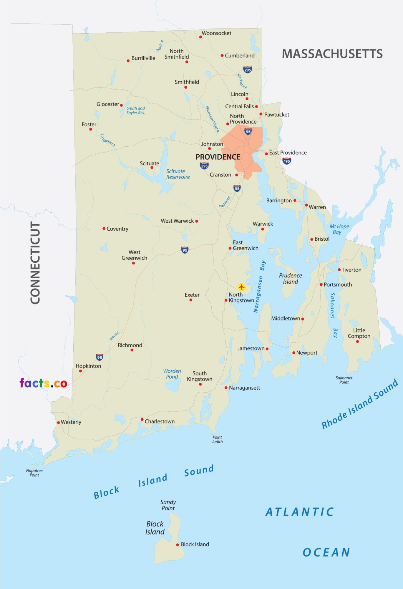 Rhode Island City Map | Large Printable High Resolution and Standard Map