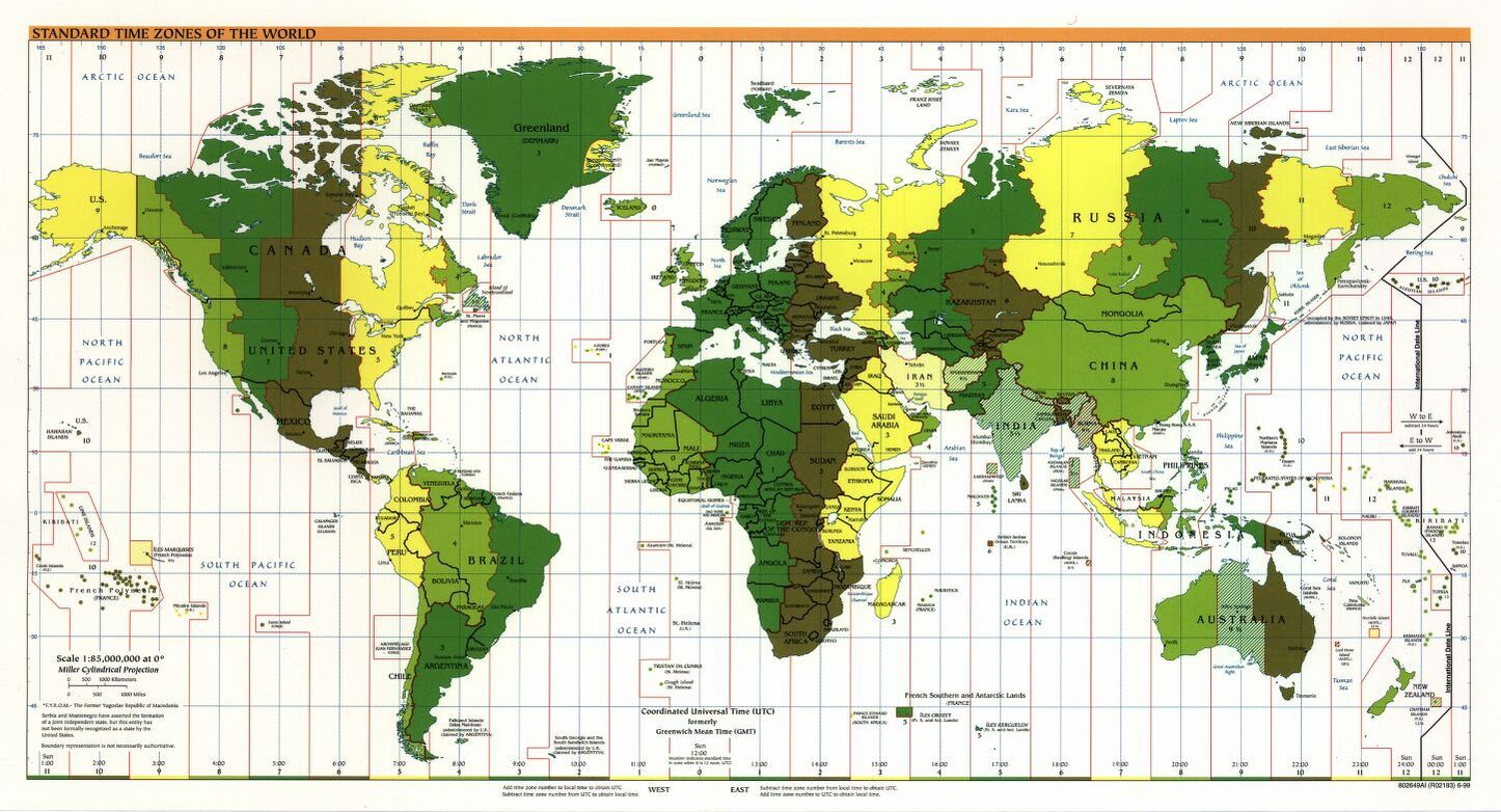 The World Standard time zones Map   | | Large, Printable Downloadable Map