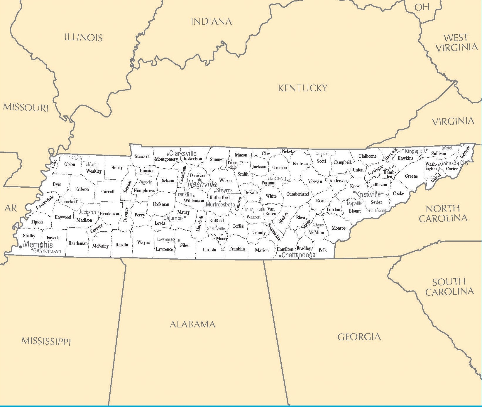Tennessee Cities Map | Large Printable High Resolution and Standard Map