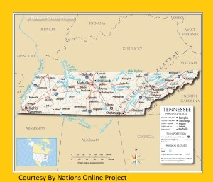 Tennessee Transportation and physical map large printable