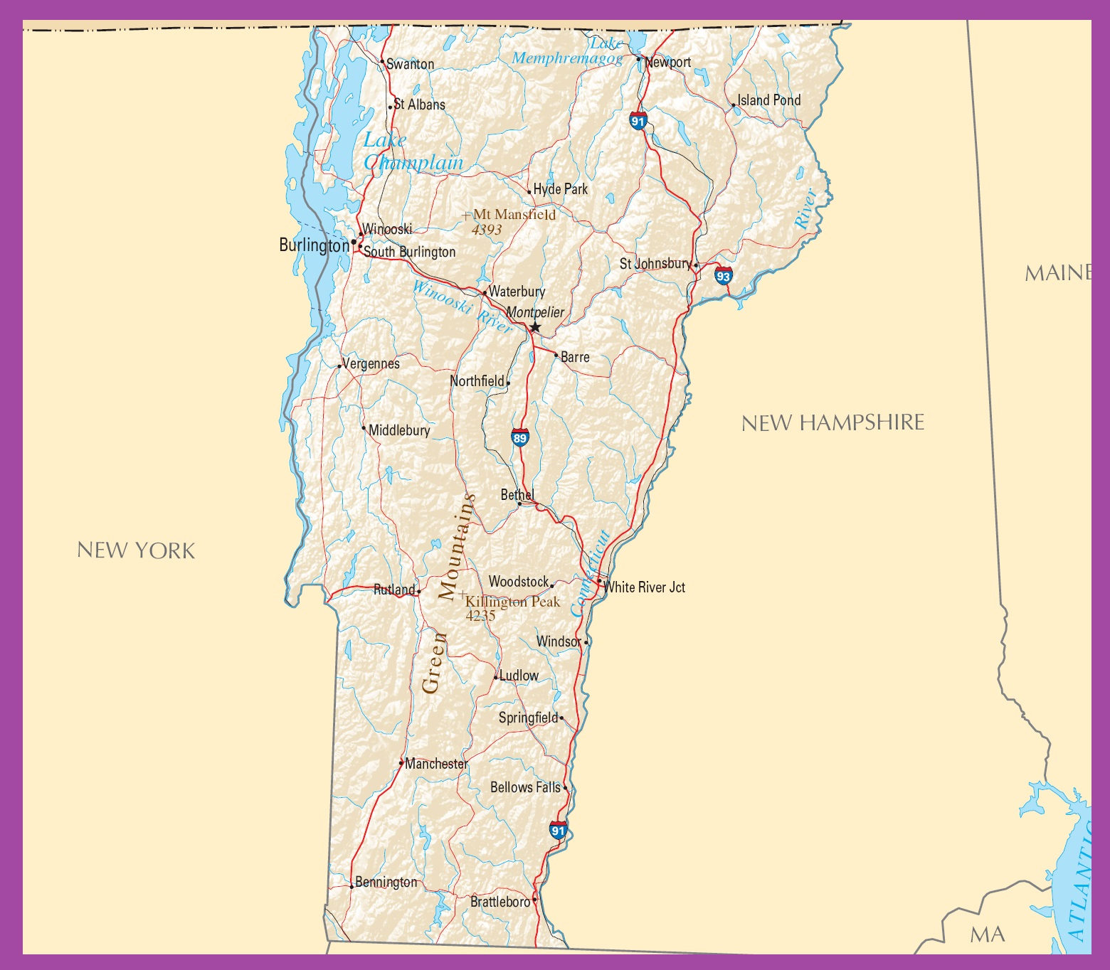 Vermont Political Map   Large Printable High Resolution and Standard Map
