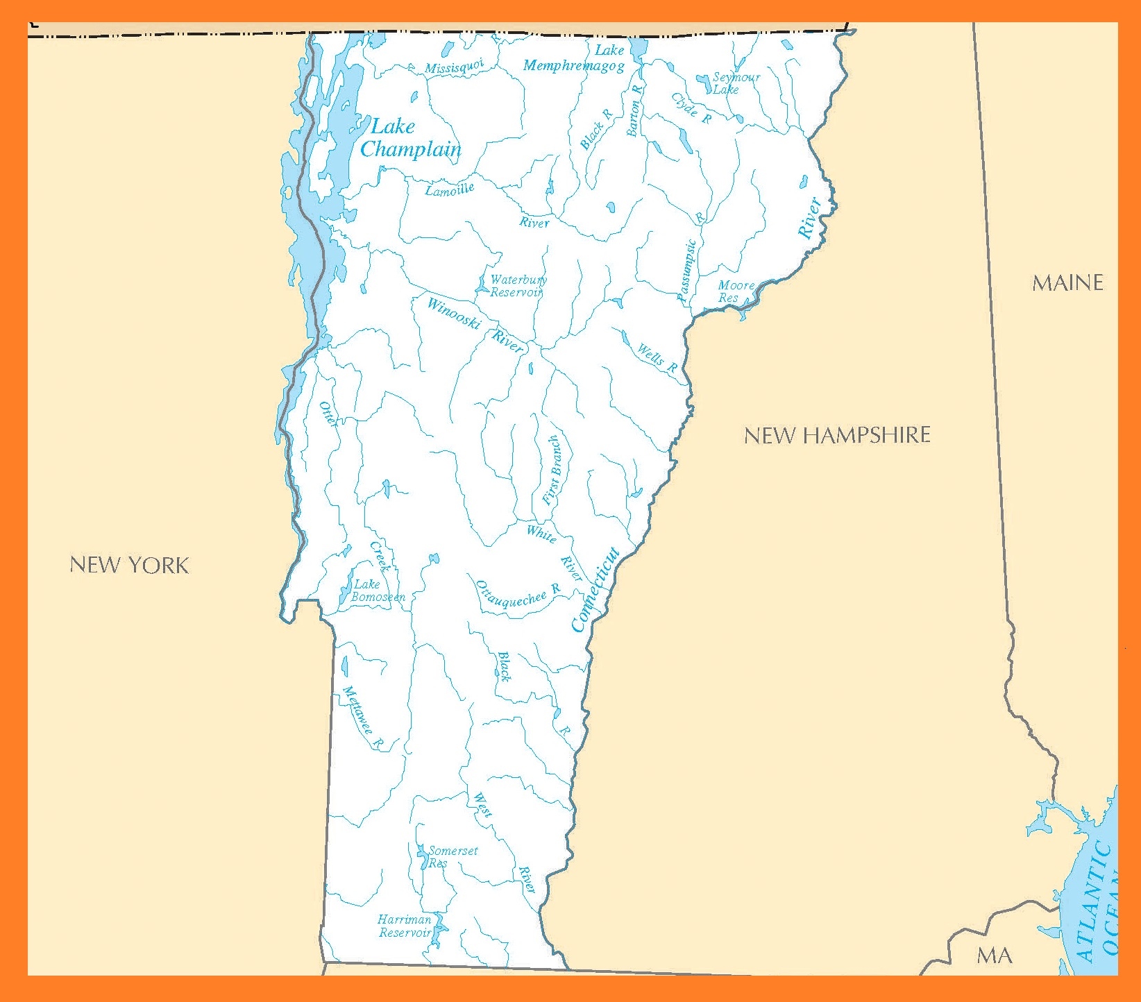 Vermont Rivers Map   Large Printable High Resolution and Standard Map