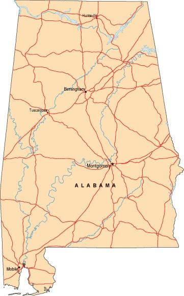 Alabama Large Highway  Map |  Large Highway  Map of Alabama-city-county-political