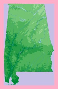 Alabama Static Topography  Map  | Static  Topography  Map of Alabama