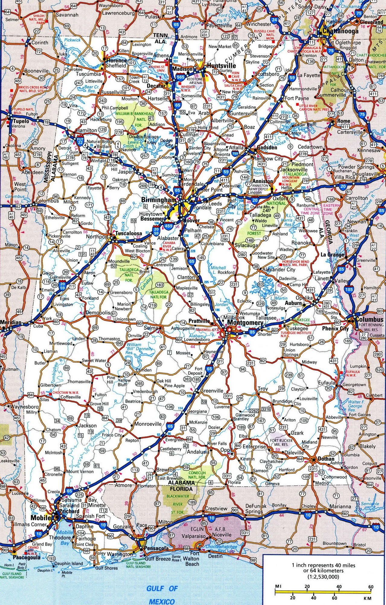 Alabama Road  Map |  Road  Map of Alabama. High Resolution