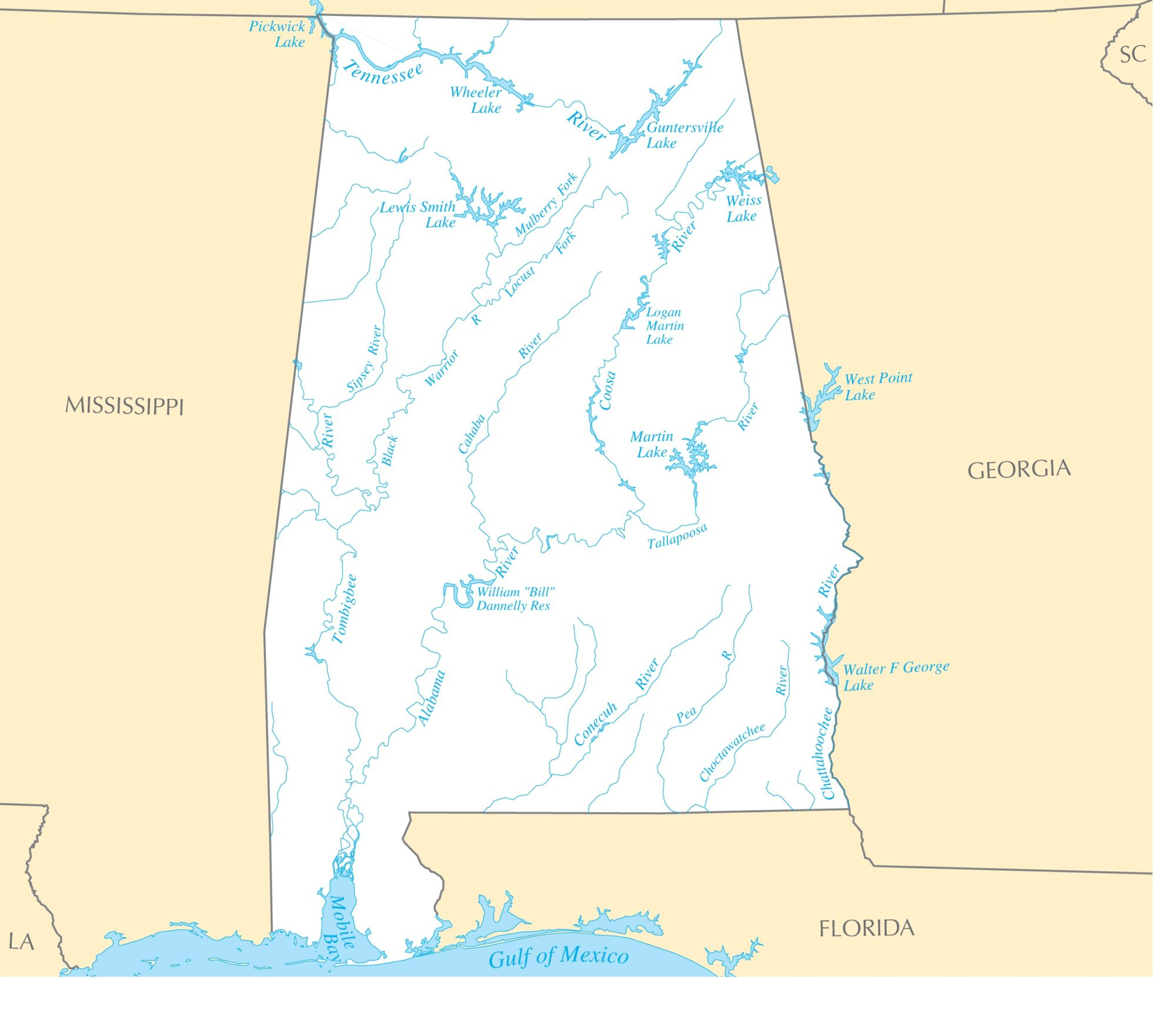 Alabama River  Map |  River Map of Alabama