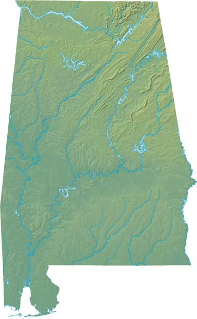 Alabama Geographical topographical-map United States Large