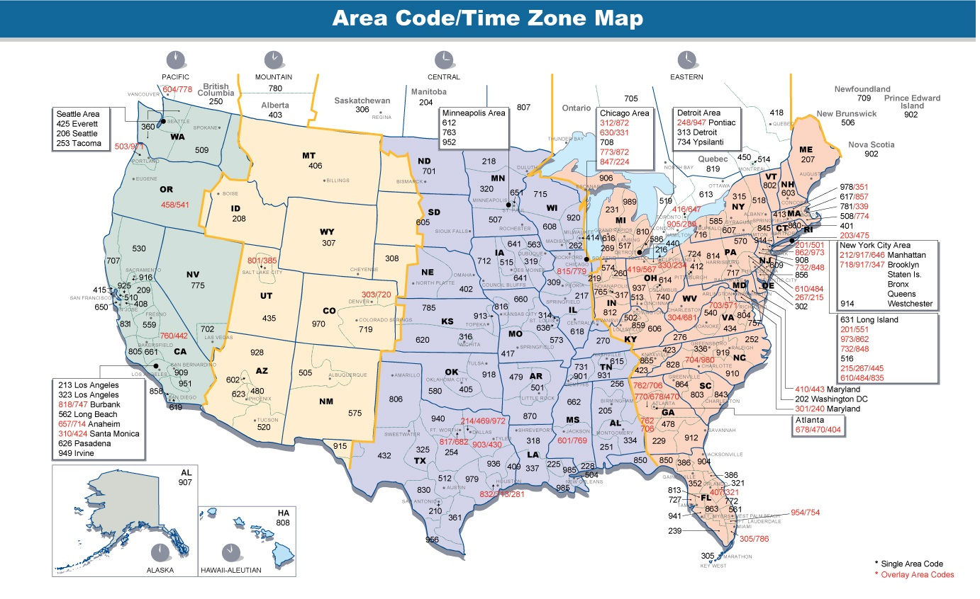 Printable Us Time Zone Map With Area Codes The United States Time Zone Map   Large Printable Colorful and