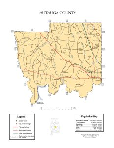 Autauga County Map |  Printable Gis Rivers map of Autauga Alabama