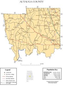 Autauga County Blank Color Road, County Seat, Urban & Rural Location Map |  Alabama State – Large, Printable Map