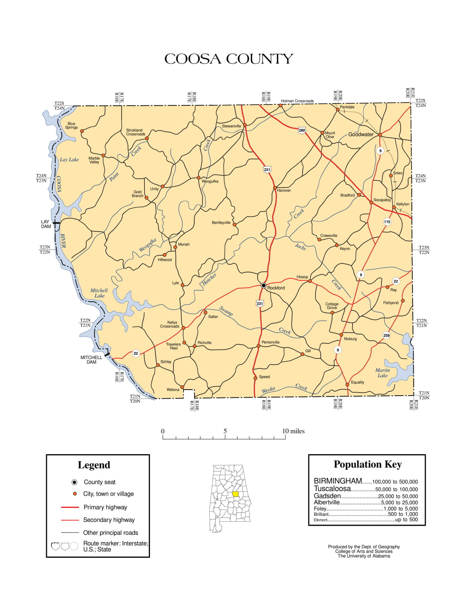 Coosa County Map |  Printable Gis Rivers map of Coosa Alabama