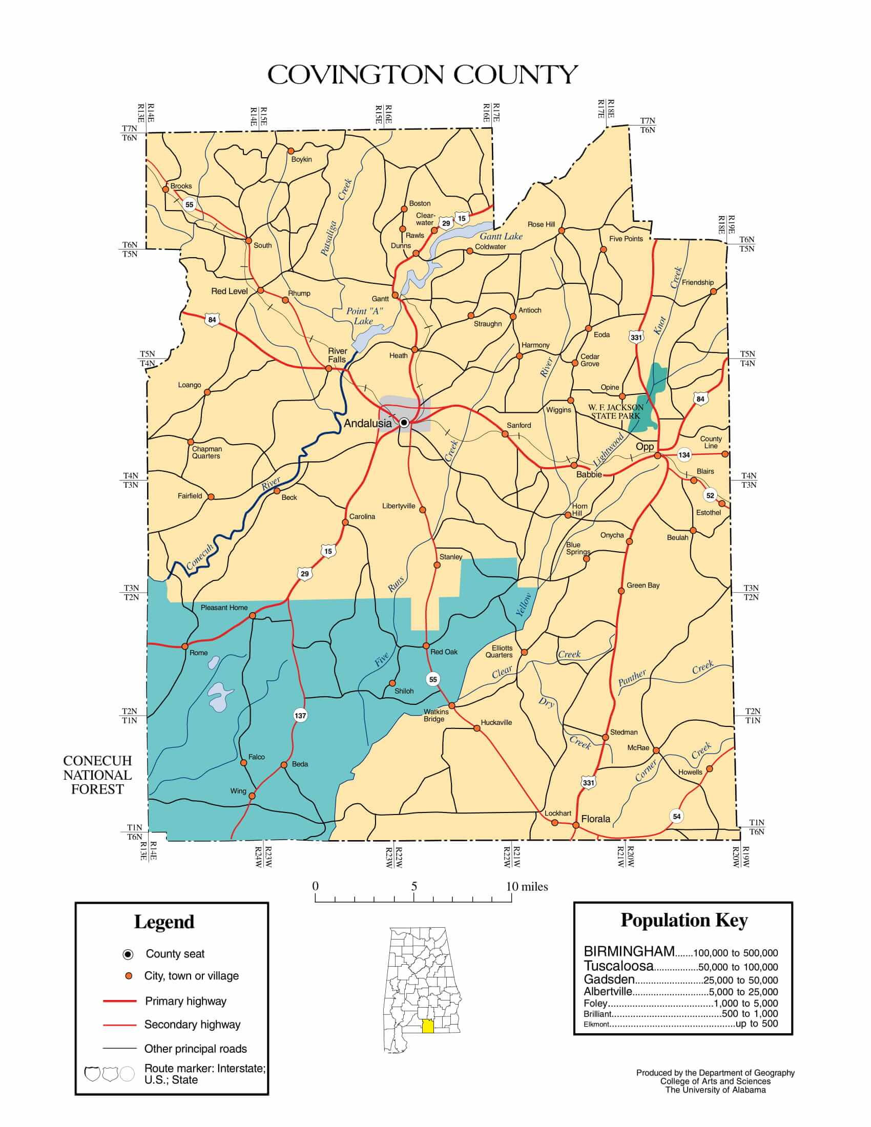 Covington County Map |  Printable Gis Rivers map of Covington Alabama