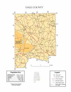Dale County Map |  Printable Gis Rivers map of Dale Alabama