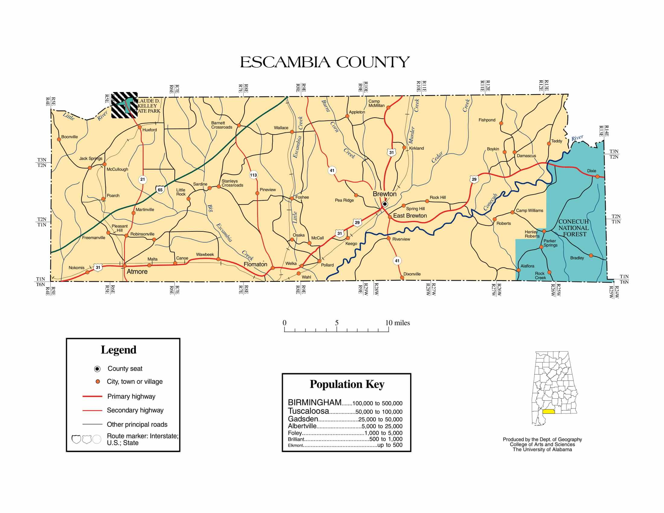 Escambia County Map |  Printable Gis Rivers map of Escambia Alabama