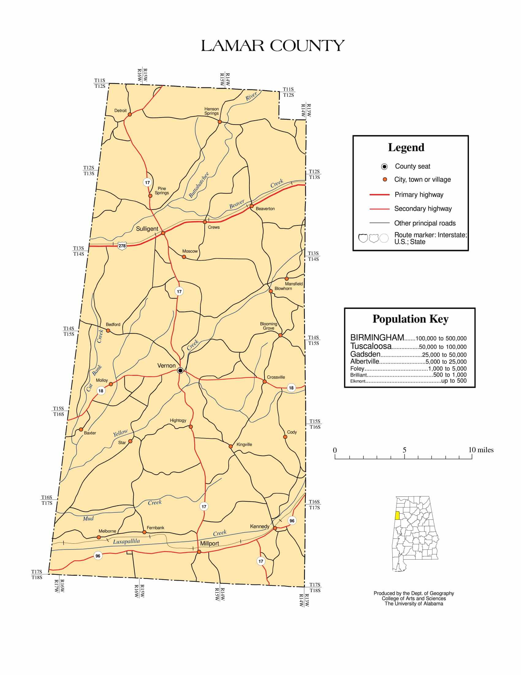 Lamar County Map    Printable Gis Rivers map of Lamar Alabama