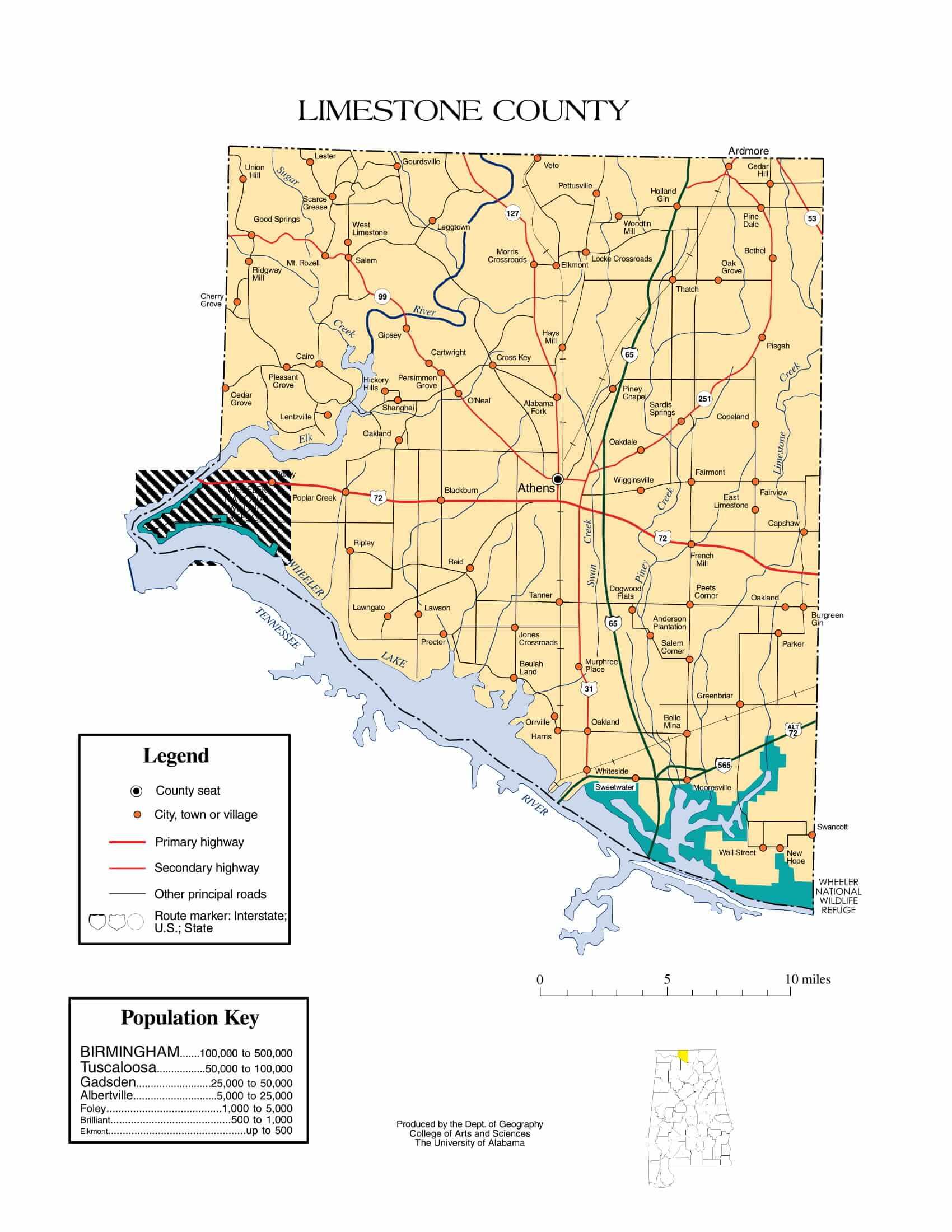 Limestone County Map |  Printable Gis Rivers map of Limestone Alabama