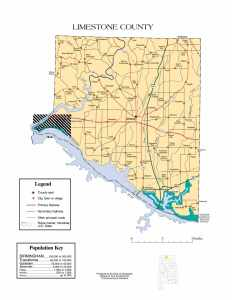 Limestone County Map |  Printable Gis Rivers map of Limestone Alabama