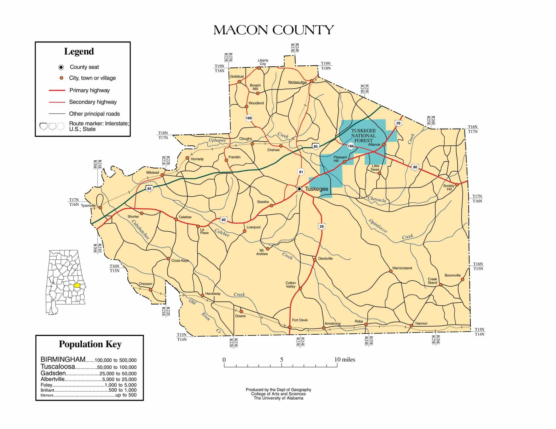 Macon County Map |  Printable Gis Rivers map of Macon Alabama