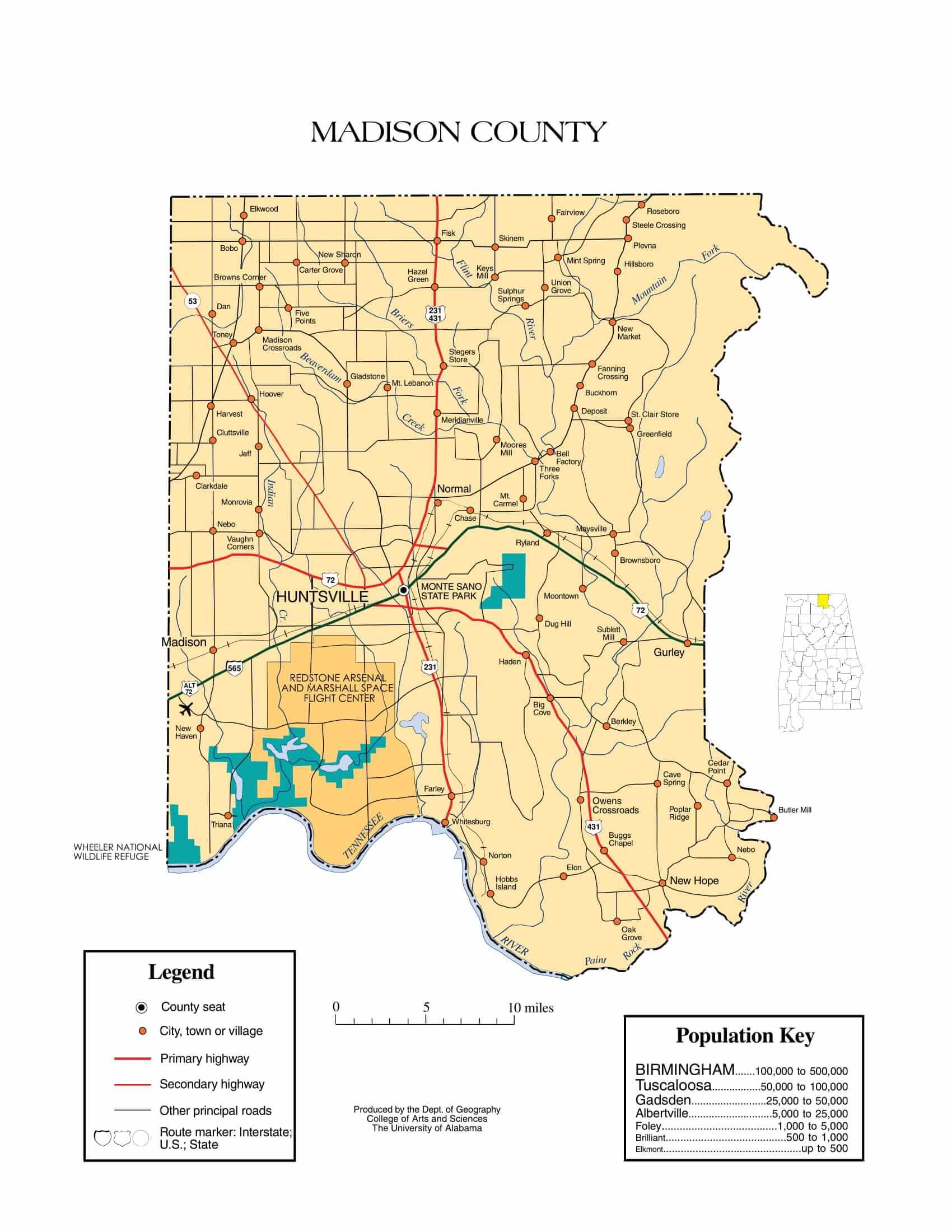 Madison County Map |  Printable Gis Rivers map of Madison Alabama