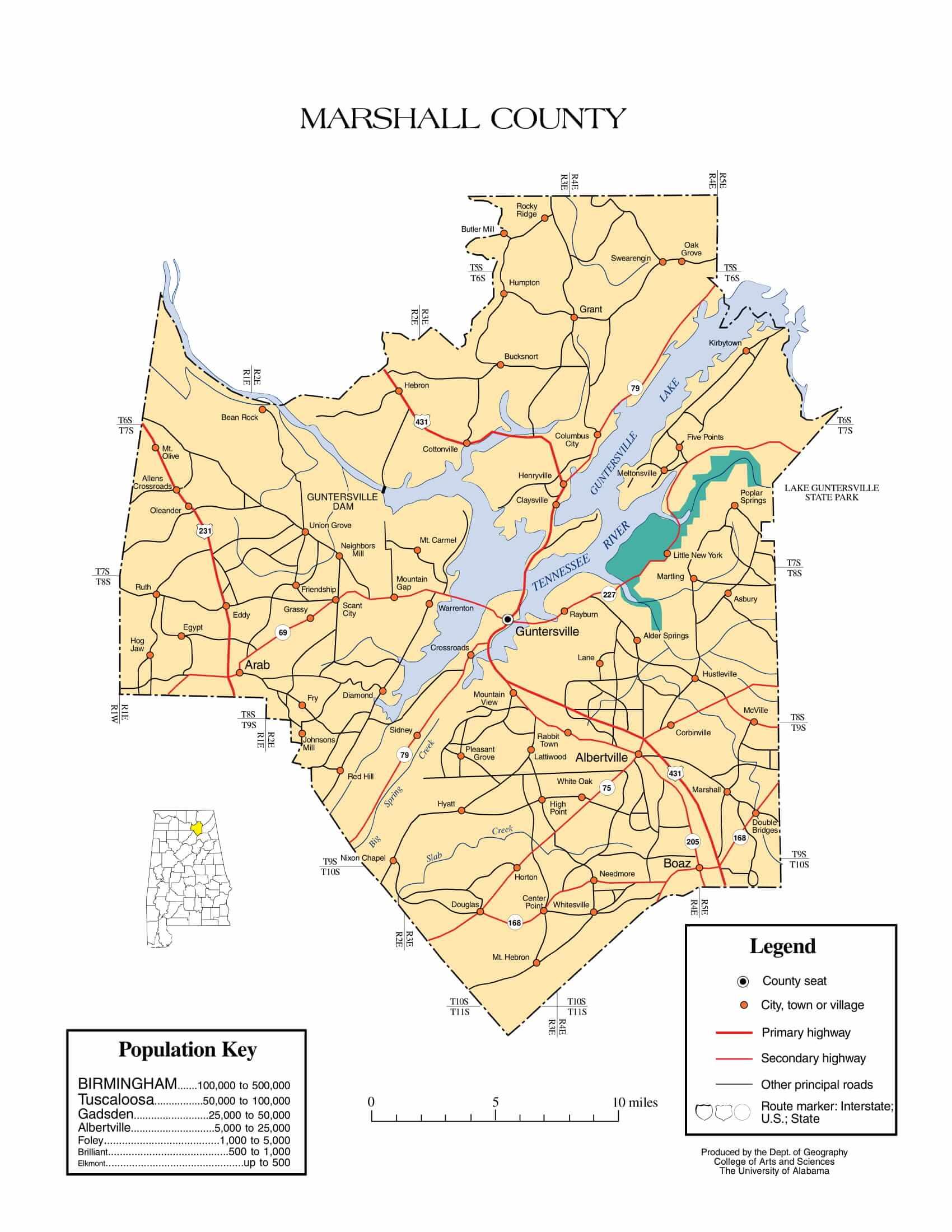 Marshall County Map |  Printable Gis Rivers map of Marshall Alabama