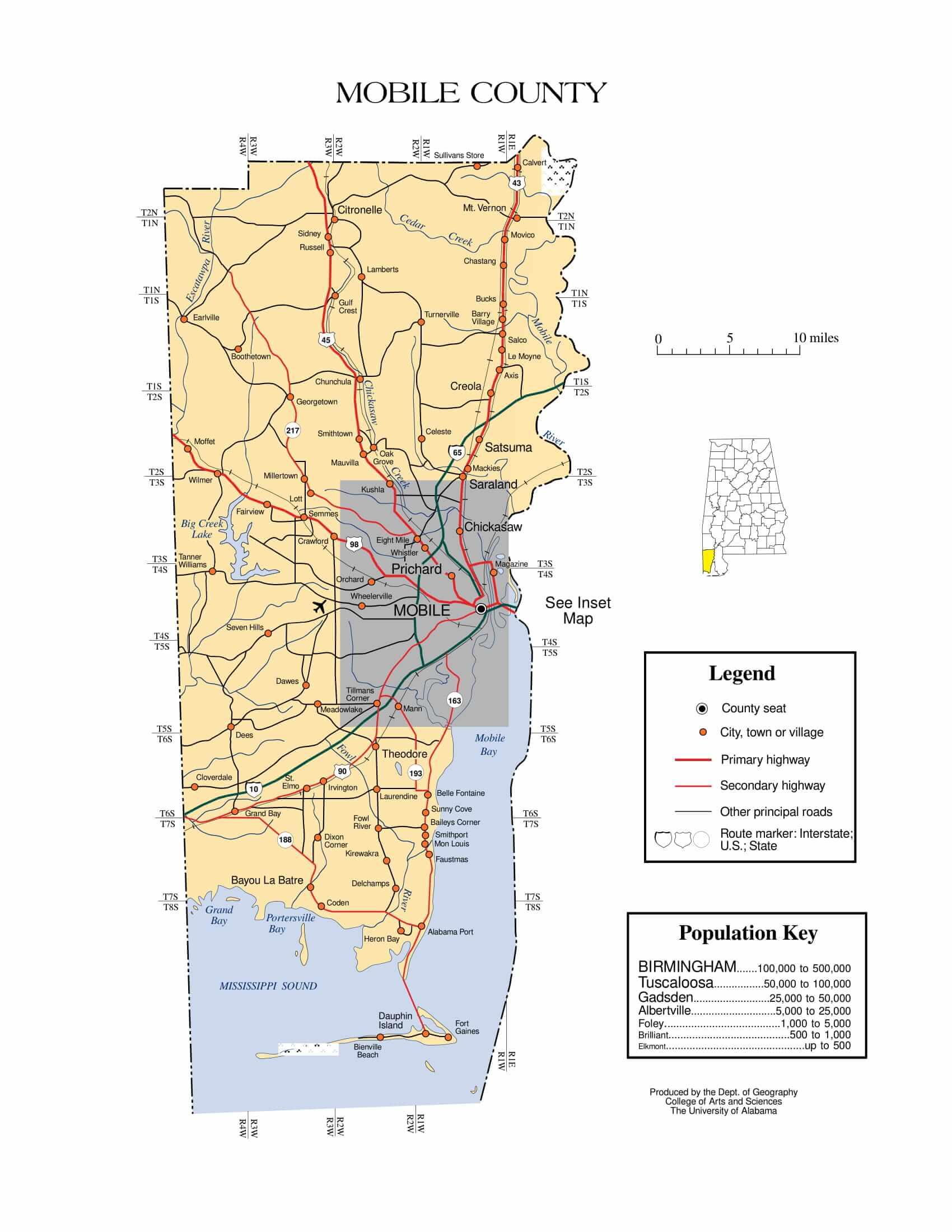 Mobile County Map |  Printable Gis Rivers map of Mobile Alabama