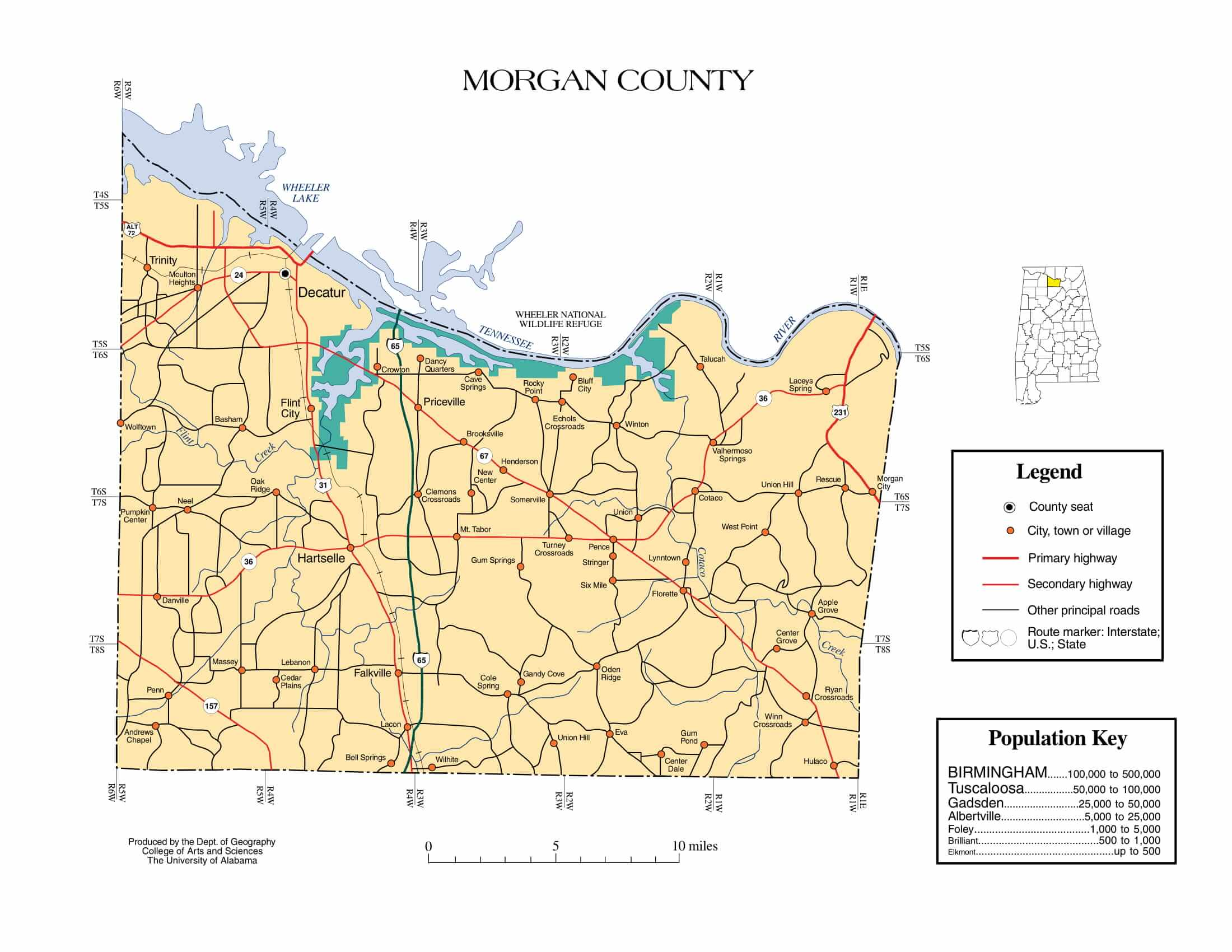 Morgan County Map |  Printable Gis Rivers map of Morgan Alabama
