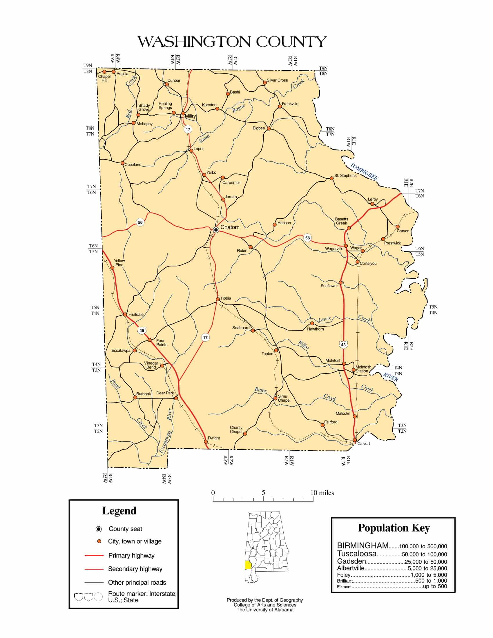 Washington County Map |  Printable Gis Rivers map of Washington Alabama